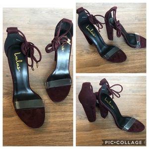 Lulus plum chunky heel high heels